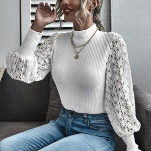 EVER SO CHIC Lace Sleeved Blouse / Top